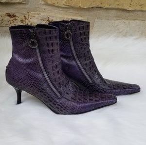 Donald J Pliner purple crocodile booties